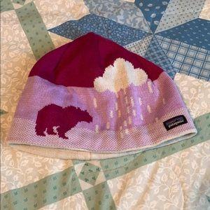 Patagonia bear pink winter beanie s/m